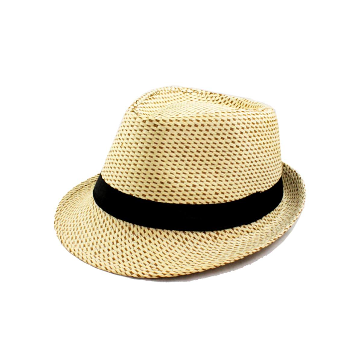 Faddism Unisex Beige Woven Fedora Hat