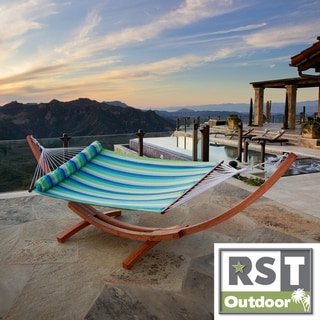 RST Cypress Wood Arc Ocean Breeze Stripe Hammock Bed