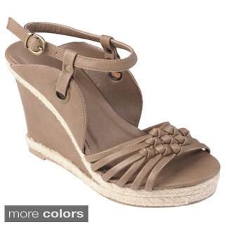 Journee Collection Women's 'OPRAH' Strappy Wedge Sandals