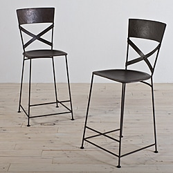 Jabalpur Zinc-finished Iron Counter Stools (Set of 2) (India)