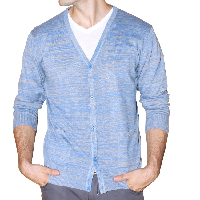 191 Unlimited Men's Blue Heathered Cardigan