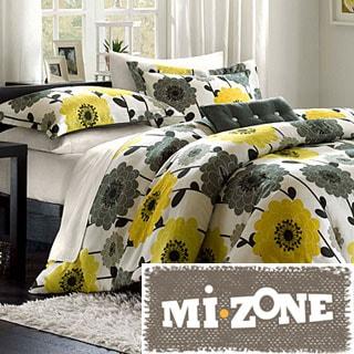Mizone Blythe Yellow/Grey 4-piece Comforter Set