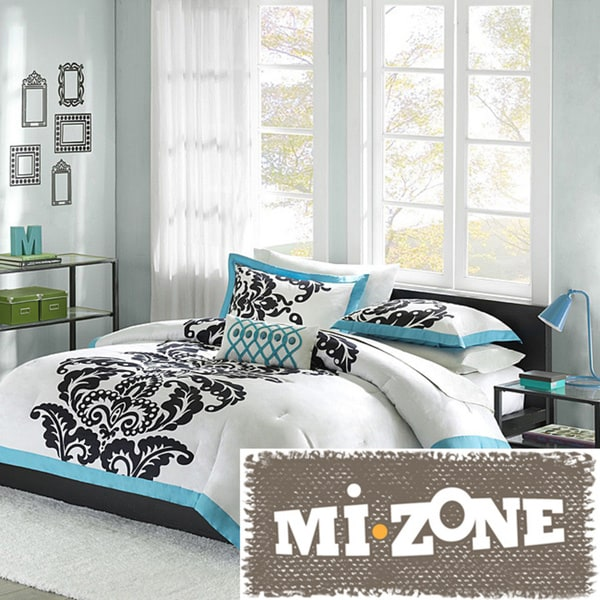 Mi Zone Santorini Teal 4-piece Duvet Cover Set