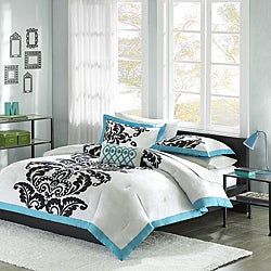 Mizone Santorini Teal 4-piece Duvet Cover Set
