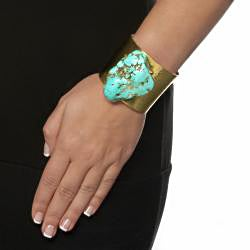 PalmBeach Genuine Turquoise Nugget Hammered Cuff Bracelet in Yellow Gold Tone Naturalist