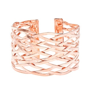 Toscana Collection 14k Rose Goldplated Lattice Cuff Bracelet