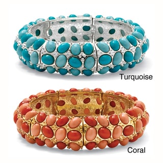 Lillith Star Silvertone Simulated Turquoise/ Simulated Coral Stretch Bracelet