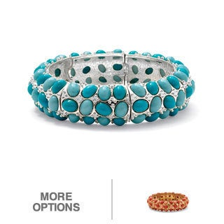 PalmBeach Silvertone Simulated Turquoise/ Simulated Coral Stretch Bracelet Bold Fashion