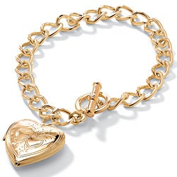 PalmBeach Yellow Goldtone Heart Locket Bracelet Tailored