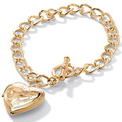 Yellow Goldtone Heart Locket Bracelet