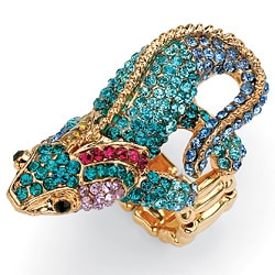 Lillith Star 14k Goldplated Multi-colored Crystal Gecko Stretch Ring