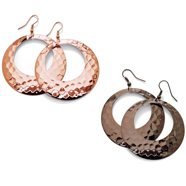 Toscana Collection Rosetone and Brown-plated Hammered Hoop Earrings (Set of 2)