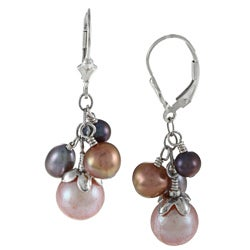 Charming Life Silver Multi-colored FW Pearl Cluster Earrings (5-8 mm)