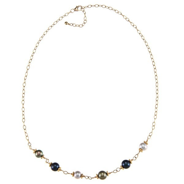 Charming Life 14k Goldfill Multi-colored FW Pearl Necklace (7-8 mm)