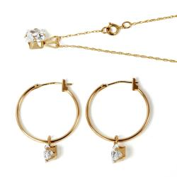 PalmBeach CZ 10k Yellow Gold Clear Cubic Zirconia Jewelry Set Classic CZ
