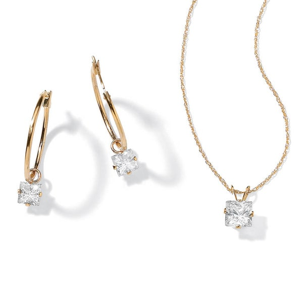 PalmBeach 2.60 TCW Princess-Cut Cubic Zirconia 10k Gold 2-Piece Necklace and Drop Earrings Set Classic CZ