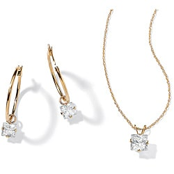 Ultimate CZ 10k Yellow Gold Clear Cubic Zirconia Jewelry Set
