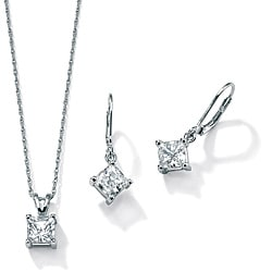 PalmBeach 3.60 TCW Princess-Cut Two-Piece Cubic Zirconia Jewelry Set in Platinum over Sterling Silver Classic CZ