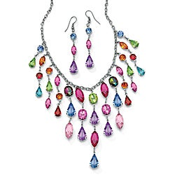 Lillith Star Silvertone Multi-colored Crystal Necklace and Earring Set
