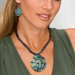 """PalmBeach Disk-Shaped Genuine Abalone Silvertone 16"""" Necklace and Earrings Set Adjustable 16"""" to 18"""" Naturalist"""