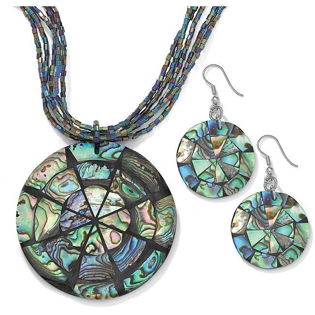 PalmBeach Abalone Disk Jewelry Set Naturalist