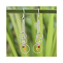 Silver 'Siam Chimes' Pearl Multi-gemstone Earrings (3 mm) (Thailand)