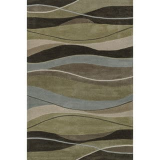 Hand-tufted Chalice Olive/ Brown Rug (2' x 3')