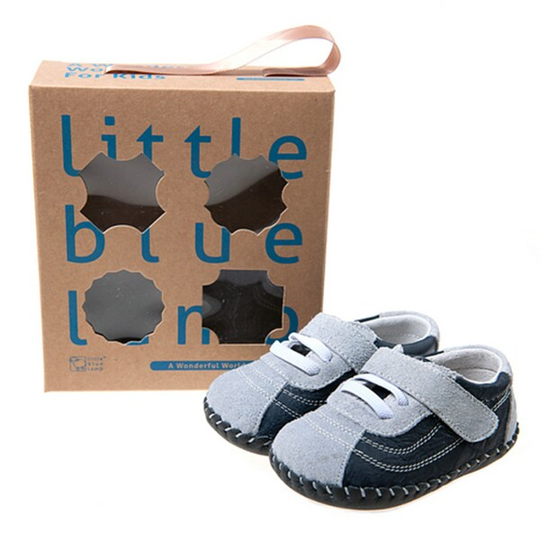 Little Blue Lamb Infant/ Toddler Hand-stitched Navy Leather Walking Shoes