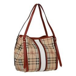Burberry Haymarket Check Red Leather Trimmed Shopper Bag