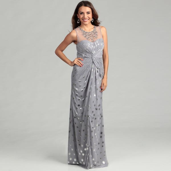 Adrianna Papell Women's Silver Beaded Ruched Dress