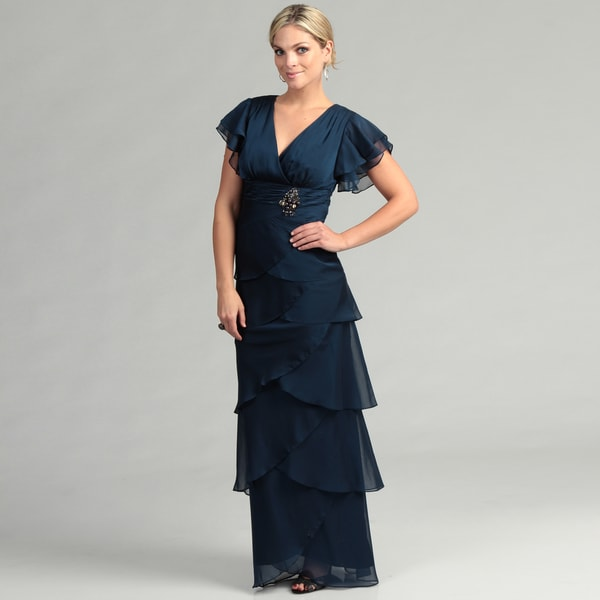 Adrianna Papell Women's Navy Tiered Gown