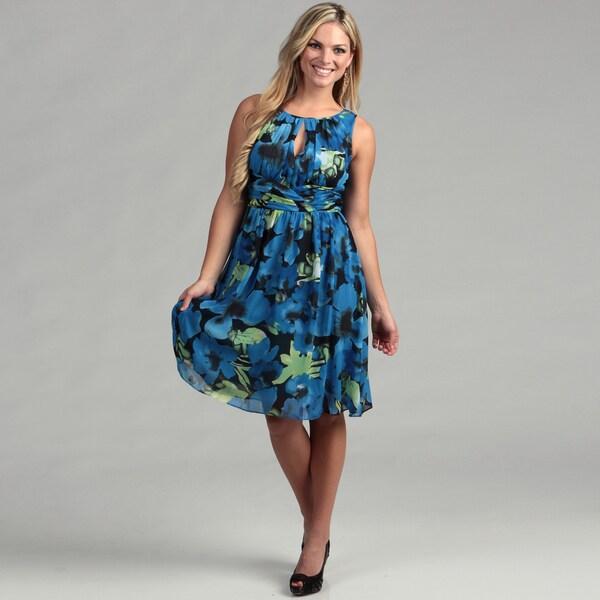 Adrianna Papell Women's Blue Shirred Dress
