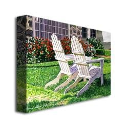 David Lloyd Glover 'White Chairs is Carmelina' Canvas Art