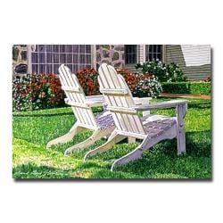 David Lloyd Glover 'White Chairs is Carmelina' Canvas Art