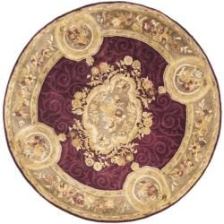 Handmade French Aubusson Red Premium Wool Rug (3'6 Round)