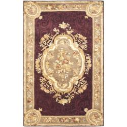 Handmade French Aubusson Red Premium Wool Rug (5' x 8')