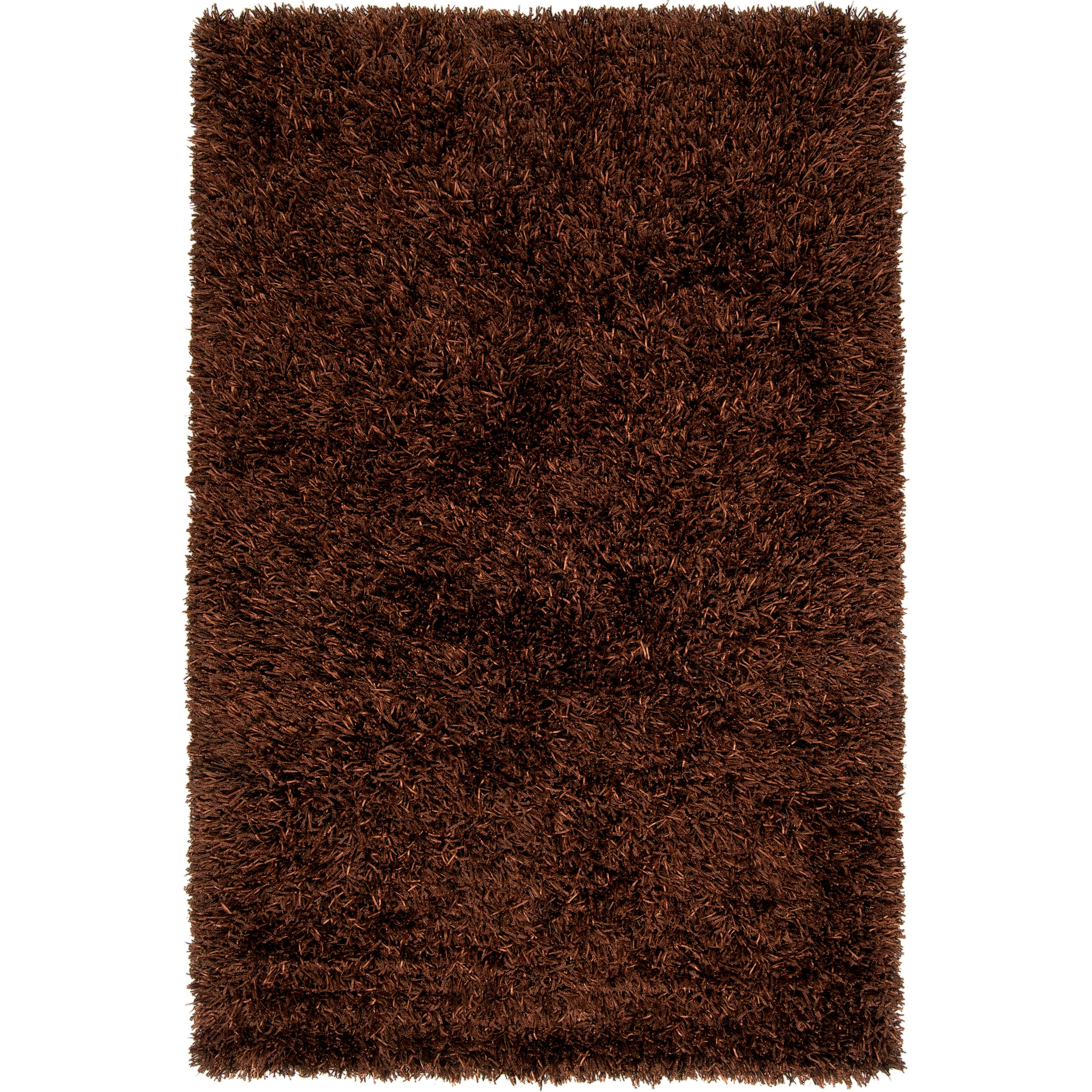 Handwoven Brown Woodford Ultra-Plush Polyester Shag Rug (5' x 8')