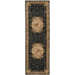 Safavieh Handmade French Aubusson Black Premium Wool Rug (2'6 x 12')
