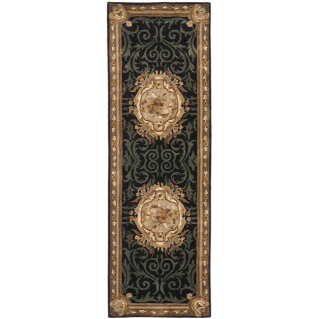 Safavieh Handmade French Aubusson Black Premium Wool Rug (2'6 x 8')