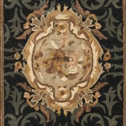 Handmade French Aubusson Black Premium Wool Rug (2'6 x 8')