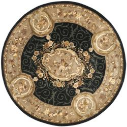 Handmade French Aubusson Black Premium Wool Rug (3'6 Round)