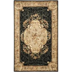 Handmade French Aubusson Black Premium Wool Rug (5' x 8')