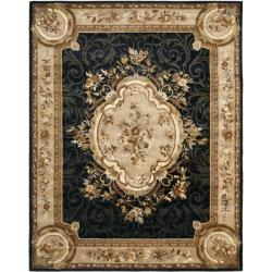 Handmade French Aubusson Black Premium Wool Rug (7'6 x 9'6)