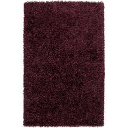 Hand-woven Burgundy Woodford Ultra Plush Shag Rug (8' x 10')