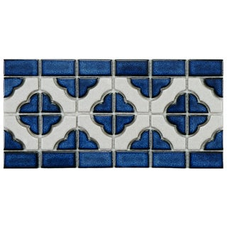 SomerTile Castle Cobalt/ White Border Porcelain Mosaic Tile (Pack of 10)