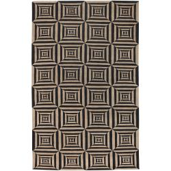 Hand-knotted Beige Bodin Hand Carded New Zealand Wool Rug (5' x 8')
