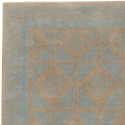 Hand-knotted Tan Bodin Hand Carded New Zealand Wool Rug (5' x 8')