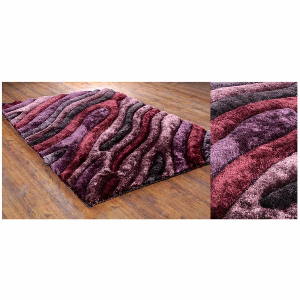Hand-Woven Mandara Thick Contemporary Shag Rug (7'9 x 10'6)