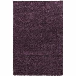 Hand-woven Mandara Lilac Shag Rug (5' x 7'6)