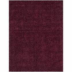 "Purple Handwoven Mandara Red Shag Rug (5' x 7'6"")"